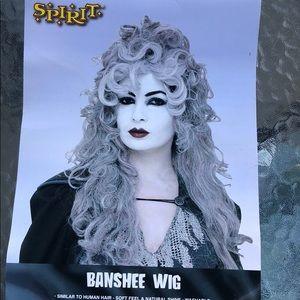 Long gray wig.